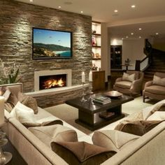 Modern Living Room Interior Design Ideas With Stone Wall Decor Living Room Tv, Living Room With Fireplace, Living Room Interior, Stone Wall Living Room, Accent Walls In Living Room, Dining Room, Living Area, Living Spaces, Family Room Design