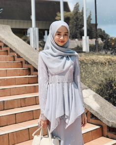 grey for Eid, Grania in grey from 🦢 Modern Hijab Fashion, Abaya Fashion, Muslim Fashion, Fashion Outfits, Muslimah Clothing, Hijab Dress Party, Beautiful Muslim Women, Casual Hijab Outfit, Bridal Dress Design