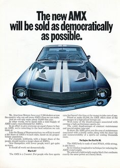 1968 AMC American Motors AMX Advertising Road & Track April 1968