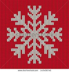Snowflake Christmas ornament on red background. Knitted seamless vector pattern