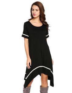 Black O-Neck Short Sleeve Asymmetrical Hem Dress