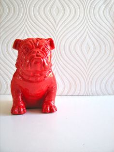English Bulldog Statue in bright red by mahzerandvee on Etsy, $39.00