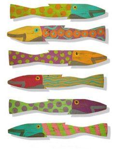 $219  Picket Fence Fish - Caribbean Set of Six