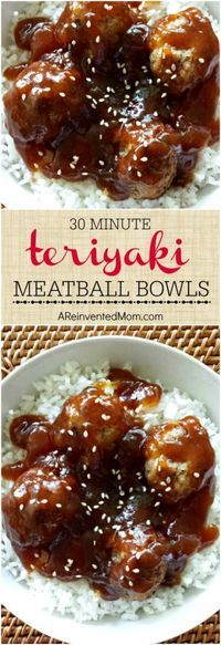 30 Minute Teriyaki Meatball Bowls - Pin Tap the link now to find the hottest products for your kitchen! Meatball Recipes, Meat Recipes, Cooking Recipes, Recipes Dinner, Healthy Recipes, Meatball Meals, Barbecue Recipes, Turkey Recipes, Recipes