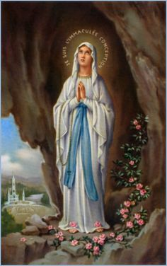 An poster sized print, approx (other products available) - The Virgin Mary as supposedly seen by Bernadette - a highly romanticised Italian depiction - Image supplied by Mary Evans Prints Online - poster sized print mm) made in Australia Fine Art Prints, Framed Prints, Poster Prints, Canvas Prints, Bernadette Lourdes, Verge, Our Lady Of Lourdes, Blessed Mother Mary, Virgin Mary