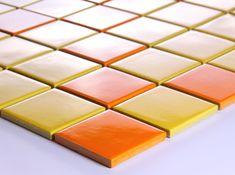 Yellow Porcelain Square Mosaic Tiles Wall Designs Ceramic Ttile flooring Kitchen Backsplash DTC004