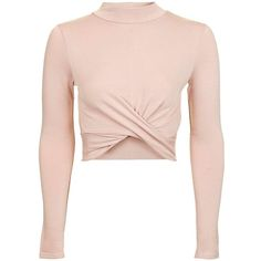 Topshop Tall Long Sleeve Twist Crop Top ($16) ❤ liked on Polyvore featuring tops, shirts, nude, tall shirts, high neck crop top, rayon shirts, long sleeve crop top and long-sleeve shirt