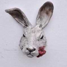 Raku Hare by Richard Ballantyne - Golden Hare Two of my favourite things: hares and poppies Rabbit Sculpture, Hollyhock, Kintsugi, Animal Heads, Pears, Bunny Rabbit, Rabbits, Sheep, Poppies