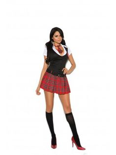 Sexy two piece school girl costume Private Session Schoolgirl costume includes Mini dress with collar and attached belt and Neck tie. Also Shown and not included: Stockings Fabric: Polyester Imported Sexy Outfits, Girl Outfits, Sexy School Girl Costume, French Maid Costume, Plaid Pleated Skirt, Fantasias Halloween, Girls In Mini Skirts, Uniform Dress, Rave Wear