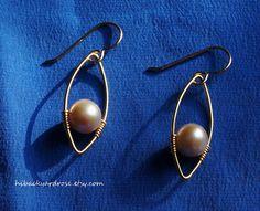 Gold Pearl Earrings in Marquise Shape Geometric by HiBackyardRose