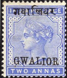 Stamp: Queen Victoria (India, Princely States) (Gwalior) Mi:IN-GW 4I Rare Stamps, Queen Victoria, Indie, Prince, Mughal Empire, Gw, Hinduism, Incredible India, Mythology