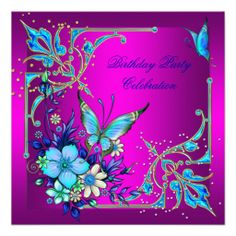 Hot Pink Teal Royal Blue Butterfly Birthday Party Personalized Invitation