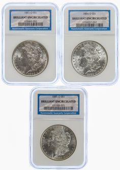 Lot 33: 1883-O, 1884-O, 1885-O $1 BU NGC;