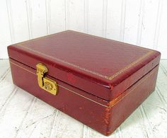 Vintage Burgundy Red Jewelry Box  Retro Mele Style by DivineOrders, $23.00