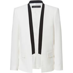 Zara Blazer With Contrasting Lapel ($50) ❤ liked on Polyvore featuring outerwear, jackets, blazers, zara, coats, white blazer jacket, lapel jacket, zara blazer, zara jackets and white blazers