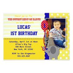 Circus Elephant Big Top Birthday Invitations Boy