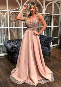A Line Long Prom Dresses with lace Evening Dress Sequin Prom Dresses, V Neck Prom Dresses, Lace Evening Dresses, Ball Dresses, Sequin Dress, Ball Gowns, Formal Dresses, Prom Outfits, Girl Outfits