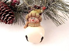 Snowman Jingle Bell Christmas Tree Ornament Folk Art Cold Cast Resin and White Metal Winter Holiday Home Decor