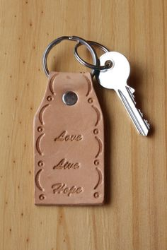 Handmade Live Love Hope Leather Keychain by Tina's Leather Crafts on Etsy.com.  Repin To Remember.