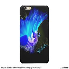 Bright Blue Flower W/Dew Drop Glossy iPhone 6 Plus Case Double Exposure Photography, Levitation Photography, Abstract Photography, Water Photography, Macro Photography, Blue And Purple Flowers, Turquoise Flowers, Iphone 6 Cases, Iphone 6 Plus Case