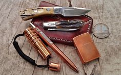 "everydaycarry: ""submitted by Mikey Bautista "" Adding gear made of copper to your EDC is a great way to add luster to your loadout. Like a good pair of leather boots, copper only gets better with time..."
