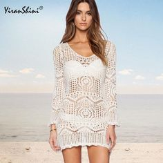 4b3f1c8d1d Cover ups Bikini YIRANSHINI New Style Knitted Hollow Out Slash Neck Dress  Tunic Dew Shouer White Sexy Beach Dress In Lace Beach Blouse KO_13_1