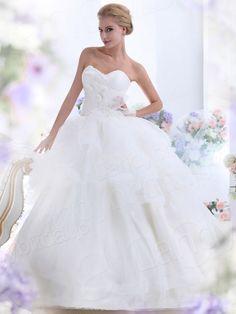 プリンセスライン チャーペルトレーン オーガンジー アイボリー ウェディングドレス B12102
