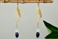 Long leaf earrings, hammered gold drops, navy bead earrings, agate long earrings, tagua earrings, nature inspired drops,women Christmas gift by ColorLatinoJewelry on Etsy