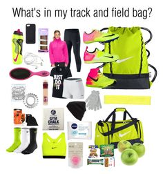 Whats in my track and field bag? by gingervaulter on Polyvore featuring NIKE, Columbia, Goody, Invisibobble, Maybelline, Nivea, Eos, BP., Under Armour and MCo
