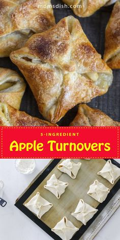 These apple turnovers are the best dessert ever and they only require 5 ingredients to make. This recipe is super simple and perfect for any fall day you are craving a sweet treat. This recipe is perfect for the fall it's super easy to make and great for any day. #appleturnovers #applepie #dessertrecipes #easydesserts #desserideas