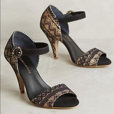 """Anthropologie peep toes! The Raphaella Booz collection is part street style-inspired edge, part vintage-inspired glamour. Runs small by 1/2 size! Adjustable buckle Shimmered leather and lace upper Leather insole, sole Made in Brazil Fortaleza heels 4"""" glitter and lace wrapped heel Anthropologie Shoes Heels"""
