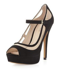 Ana Mary Jane Suede Platform. Black/Nude by Pour la Victoire at Neiman Marcus Last Call.