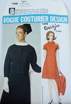 1960s Mod Dress and Jacket Designer Dress VOGUE COUTURIER DESIGN 1648 sz 14 b 36 Galitzine Designer Pattern A-line Dress 1960s Dress Pattern:  Vogue Couturier Design 1648; 1960s; Irene Galitzine - Dress and Jacket. Semi-fitted A-line dress with front V-seaming has short kimono sleeves, standing bias collar and self or contrast yoke. Semi-fitted collarless jacket has seven-eighths length raglan sleeves and snap front closing.  Pattern is cut and complete, in very good condition with…