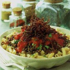 Egyptische linzen met macaroni