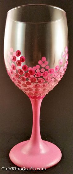 Girly Pink Dots Hand-Painted Wine Glass Girly Pink Dots by ClubVinoCrafts on Etsy- Top rack dishwasher safe!