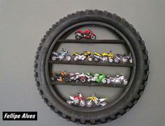 Wall decor for boys room - would also be cute with a mirror inside the tire. - Ideas of Decoration Car Bedroom, Kids Bedroom, Bedroom Decor, Baby Boy Rooms, Baby Room, Motocross Bedroom, Motorcycle Nursery, Motorcycle Party, Girl Motorcycle