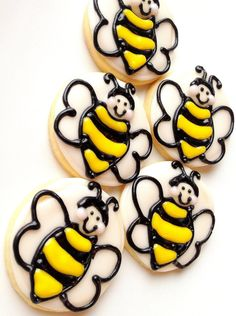 Bumble Bee Cookies Decorated Iced Sugar Cookies Mini Yellow #fooddecoration, #food, #cooking, https://facebook.com/apps/application.php?id=106186096099420