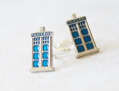 Tardis Cufflinks - Doctor Who Cuff Links - Gifts for Men - Mens Accessories - Tardis Tie Clips Men - Nerdy Gifts For Men by SmittenKittenKendall on Etsy