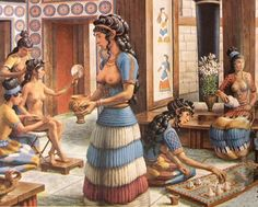 Knossos women in their traditional dresses in Knossos palace playing games Rome Antique, Art Antique, Ancient Art, Ancient History, Knossos Palace, Bronze Age Civilization, Minoan Art, Mycenaean, Greek History
