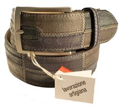Grey leather belt for men, Florentine leather