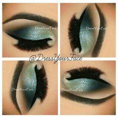 Maquiagem verde e azul