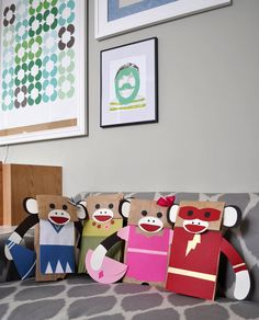 "sock monkey puppets. great for a ""make your own"" basket with precut outfits for kids to pick from"