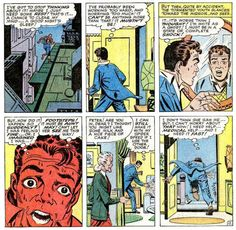 """Excerpt from """"Spiderman #24."""" It was published in 1965 by Marvel Comics and written by Stan Lee. It was illustrated with pencil and ink by Steve Ditko."""