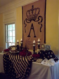 Monogrammed crown burlap wall hanging and tablescape(cute with hot chocolate party)