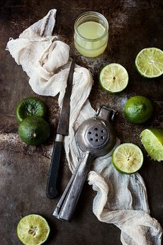 Limes / just add some Blue Coat, simple syrup and crushed ice