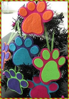 Dog paw ornaments...these would make cute gift tags also.