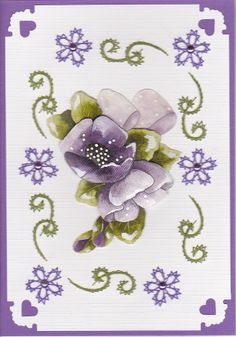 Y Paarse bloem in bloemetjes kader Embroidery Cards, Edge Stitch, Card Patterns, String Art, Christmas Time, Celtic, Card Ideas, Projects To Try, Photos