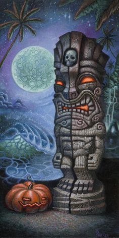 Shop Tiki Shark Paper Prints, authentic Tiki Art from Hawaii. Brad Parker is a Tiki Artist working in the pop-surrealism style of the Lowbrow Art movement. Tiki Hawaii, Hawaiian Tiki, Tiki Tatoo, Wiki Tiki, Tiki Pole, Tiki Man, Tiki Decor, Tiki Lounge, Hawaiian Tattoo