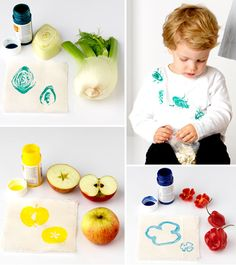 Fruit and Veg prints Kids Crafts, Projects For Kids, Diy For Kids, Craft Projects, Fruit Print, Preschool Art, Fruit And Veg, Creative Kids, Activities For Kids