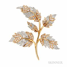 18kt Gold, Platinum, and Diamond Leaf Brooch, Schlumberger, Tiffany & Co., France, set with full-cut diamonds, approx. total wt. 4.00 cts., 12.1 dwt, lg. 2 3/8 in., export stamps, signed.